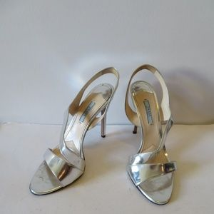 PRADA SILVER LEATHER HIGH HEEL SANDALS SZ 10 US